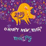 Beautiful New Years card with a cartoon yellow boar symbol of 2019 on the Chinese calendar. Year of the Pig 2019. Cute yellow pig on a dark purple richly stock photo