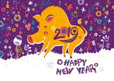 Beautiful New Years card with a cartoon yellow boar symbol of 2019 on the Chinese calendar. royalty free illustration