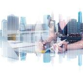 New York cityscape, businesswoman writing stock image