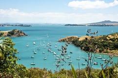 Beautiful New Zealand. Beautiful bay scenery from Waiheke Island towards Auckland, New Zealand Stock Photos