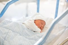 Newborn baby laying in crib in prenatal hospital. Beautiful newborn baby boy, laying in crib in prenatal hospital Stock Photo