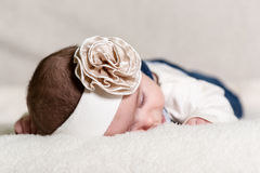 Beautiful newborn baby girl. With bow, lying in her bed Royalty Free Stock Photo
