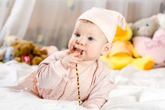 Beautiful newborn baby girl with hat stock image
