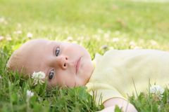 Beautiful Newborn Baby Girl Laying in the Grass Outside Royalty Free Stock Photo