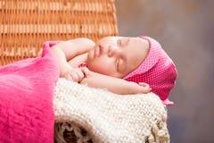 Beautiful newborn baby girl. Sleeping Royalty Free Stock Photography