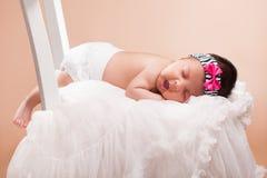 Beautiful newborn baby girl. Sleeping Stock Images
