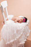 Beautiful newborn baby girl. Sleeping Stock Photo