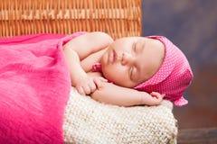 Beautiful newborn baby girl. Sleeping Stock Image