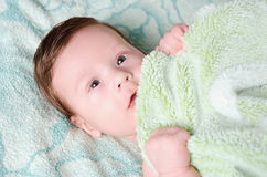 Beautiful newborn baby. Lying in his bed Stock Images