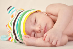 Beautiful newborn baby sleeping on blanket Royalty Free Stock Image