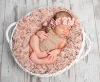 Beautiful newborn in basket with fluffy blanket Royalty Free Stock Photography