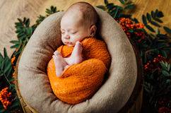 Beautiful newborn sleeping baby boy. With knitted hat on a wooden background Stock Photos