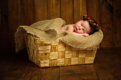 Beautiful newborn sleeping baby girl in wicker basket on a wooden background Stock Image