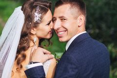 Beautiful newlywed bride and groom in park face closeup. Beautiful newlywed bride and groom hugging in park. face closeup Stock Images