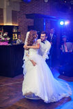 Beautiful newlywed couple first dance at wedding Stock Photo