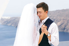 Beautiful newlyweds dancing on sea Stock Images