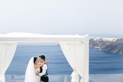 Beautiful newlyweds hugging on sea Royalty Free Stock Images