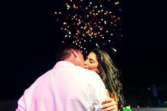 beautiful newlyweds on wedding party Stock Photos