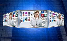 Beautiful news tv redhead woman on 3d display Stock Photography