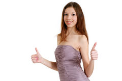 A beautiful nice lady is irresistible in a dress Stock Images