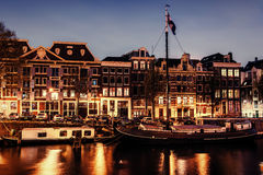 Beautiful night in Amsterdam.  illumination of buildings an Stock Images
