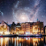 Beautiful night in Amsterdam.  illumination of buildings an Royalty Free Stock Images
