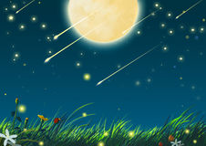 Beautiful Night with Big Moon and Shooting Stars. Video Game`s Digital CG Artwork, Concept Illustration, Realistic Cartoon Style Background stock illustration