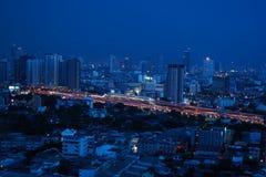 Beautiful night in a blue cityscape. Beautiful blue light in the cityscape at night Stock Photography