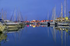 Beautiful night blue marina in Mediterranean sea Royalty Free Stock Photography