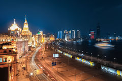 Beautiful night at the bund in shanghai Royalty Free Stock Photography