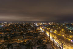 Beautiful night city landscape, city lights. Voronezh from rooftop Stock Photo