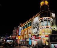 Beautiful night city and street view of Harbin China Stock Images