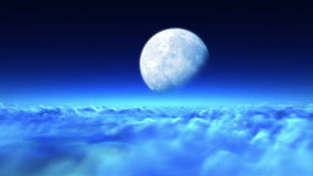 Beautiful night flight over clouds to the moon stock video footage