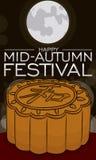 Mooncake in Full Moon Night Ready to Celebrate Mid-Autumn Festival, Vector Illustration Vector Illustration