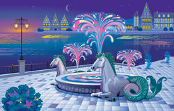 Beautiful night landscape with a luminous fountain on the waterf Stock Photos