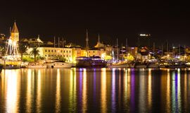 Beautiful night landscape of Makarska city, popular resort in Croatia Stock Photos