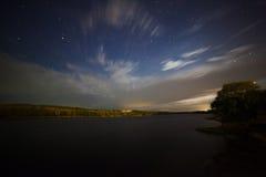 Beautiful night landscape, moonrise, lake and trees Stock Photo