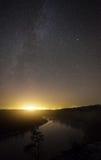 A beautiful night landscape, moonrise night Stock Images