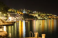 Beautiful night landscape of Neum city, popular resort in Bosnia and Herzegovina Stock Photo