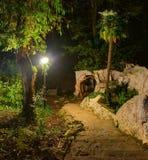 Beautiful night landscape of Sochi Arboretum, Russia. Beautiful night landscape with stone stairs, streetlight and cavern in Sochi Arboretum, Russia Stock Photos
