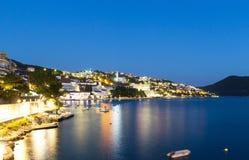 Beautiful night lights landscape of Neum, popular tourist resort in Bosnia and Herzegovina. Europe Stock Image