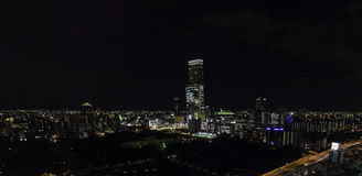 Beautiful night lights of Tennoji area taken from aerial view. Stock Photo