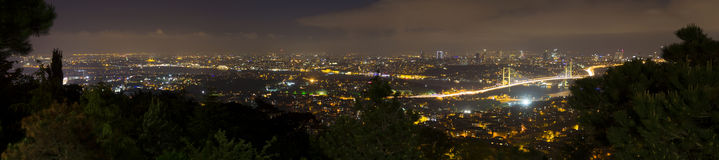 Beautiful night panorama of the Istanbul city from the Camlica hill Royalty Free Stock Image