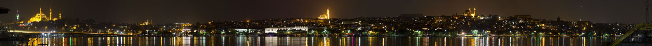 Beautiful night panorama of the Istanbul city Royalty Free Stock Photography