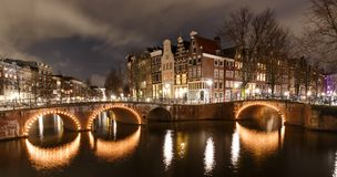 Night scene Amsterdam. Beautiful night scene in Amsterdam at Keizersgracht and Leidsegracht Royalty Free Stock Photo