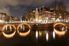 Night scene Amsterdam. Beautiful night scene in Amsterdam at Keizersgracht and Leidsegracht Stock Images