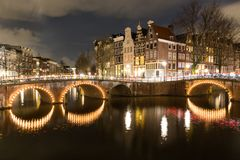 Night scene Amsterdam. Beautiful night scene in Amsterdam at Keizersgracht and Leidsegracht Stock Photos