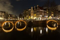 Night scene Amsterdam. Beautiful night scene in Amsterdam at Keizersgracht and Leidsegracht Stock Photo