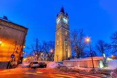 Baia Mare, Romania. Beautiful night scene in Baia Mare city, in winter season, Romania stock image