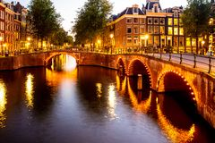 Amsterdam in the Netherlands with canals and lights stock image